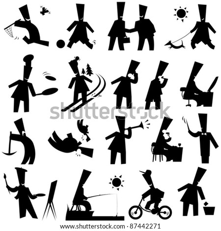 funny silhouettes - stock vector