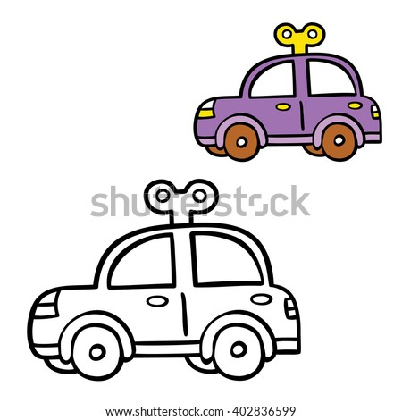 funny simple coloring page. Vector illustration coloring page of cartoon car for children, coloring and scrap book,baby shower