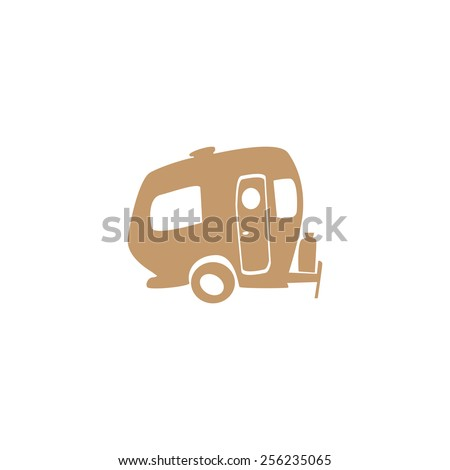Funny simple recreational vehicle Isolated on white background - stock vector