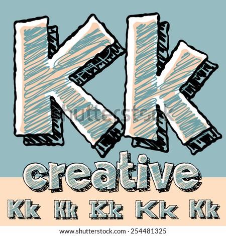 Funny sketch alphabet. Vector illustration of hand drawing font. Letter K - stock vector