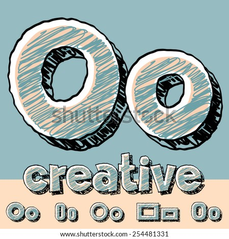 Funny sketch alphabet. Vector illustration of hand drawing font. Letter O - stock vector