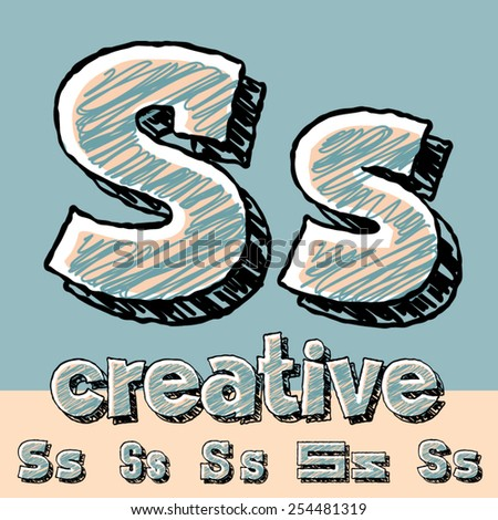 Funny sketch alphabet. Vector illustration of hand drawing font. Letter S - stock vector