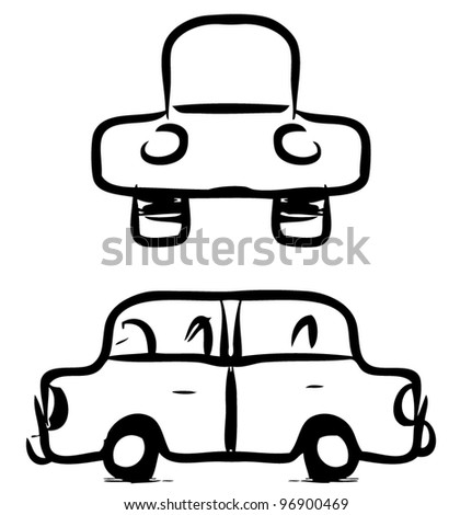 Funny sketch car in childish doodle style. - stock vector
