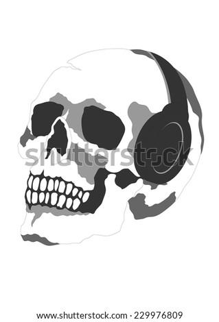 funny skull skeleton dj head day of the dead 1.1 - stock vector