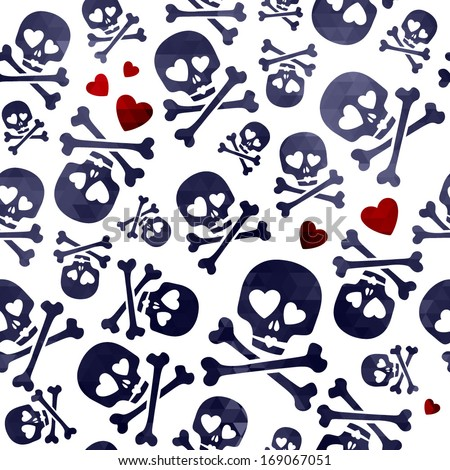 Funny skulls in love - red and black pattern. Good for Valentine's Day design. - stock vector