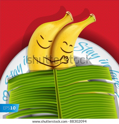 Funny sleeping bananas on a plate. Vector