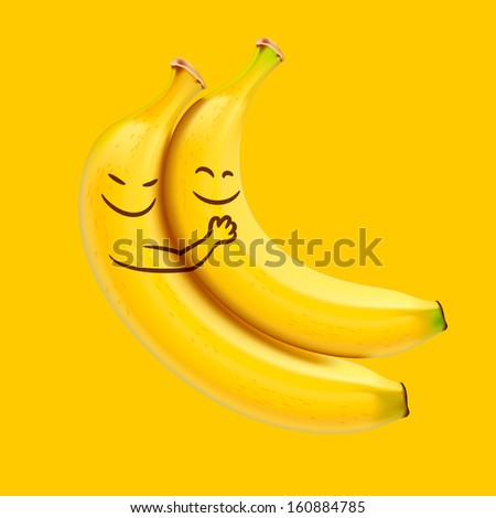 Funny sleeping bananas, vector illustration.