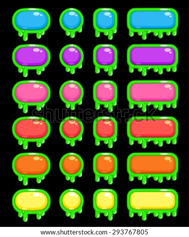 Funny slimy colorful buttons set, isolated vector elements for web or game design
