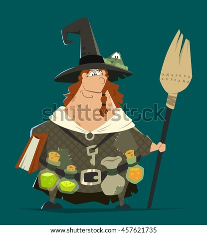 Funny smile fat woman witch vector character standing with broom and book