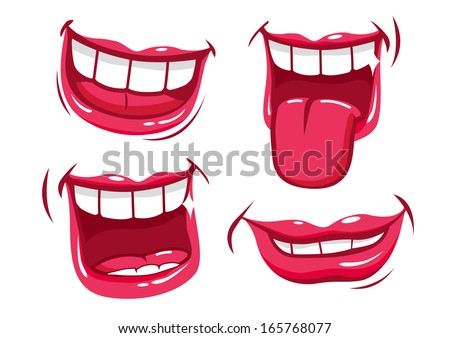 funny smiles vector set stock vector 165768077 shutterstock rh shutterstock com Black Lips Clip Art Blowing Kiss Lip Clip Arts