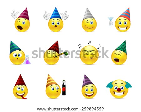 Funny smileys in caps for the holiday birthday - stock vector