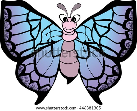 Funny smiling butterfly with open wings. Vector illustration - stock vector