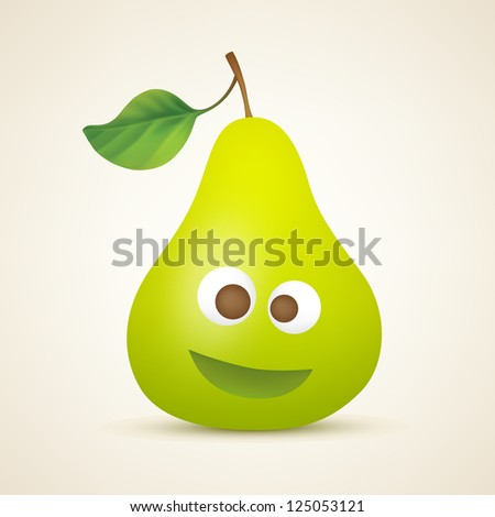 Funny smiling pear. Vector illustration created using gradient meshes. - stock vector