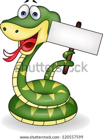 Funny snake with blank sign - stock vector
