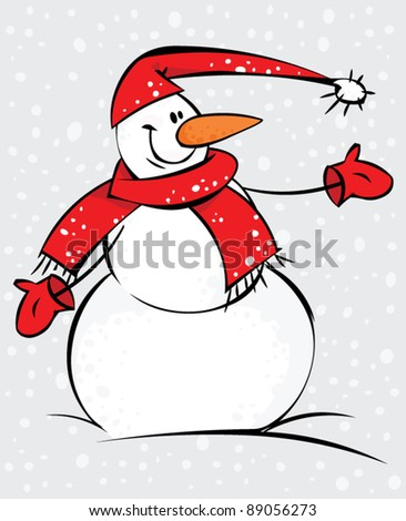 Funny snowman in the snow with red scarf