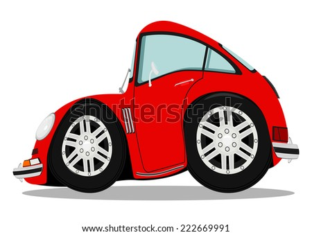 Funny sports car after heavy braking. Vector illustration without gradients.  - stock vector