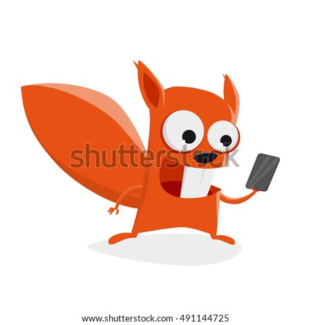 funny squirrel with smartphone