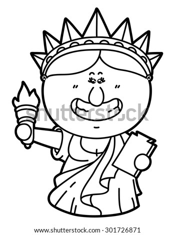 funny statue of liberty vector illustration coloring page of happy cartoon statue of liberty which
