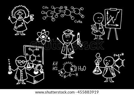 Funny student and professors icons. Education set on school board. Vector background.