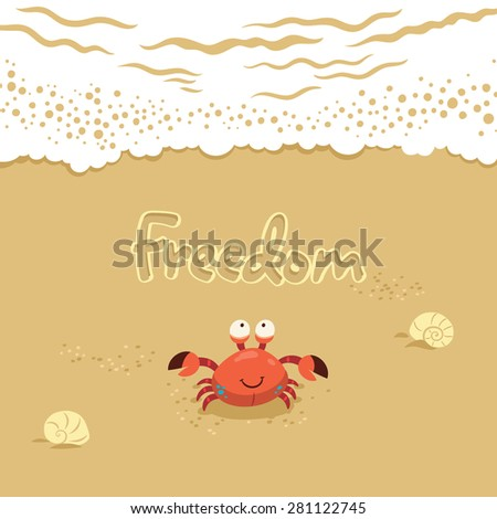 Funny summer card with crab. Traver concept postcard - stock vector