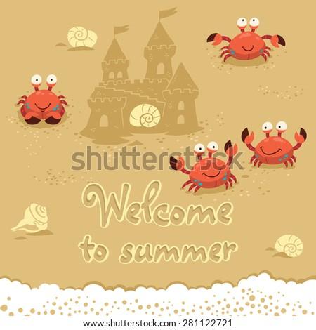 Funny summer card with crabs. Traver concept postcard - stock vector