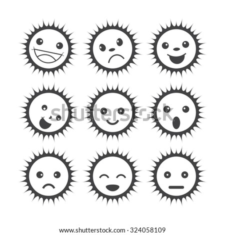 funny sun icons. set of different emotions - stock vector
