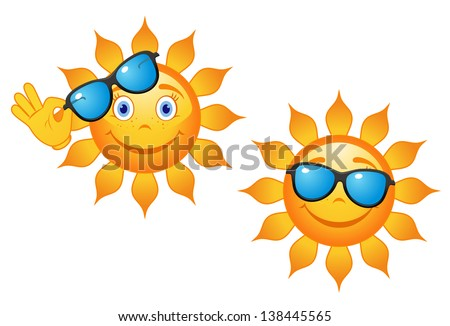 Funny sun in sunglasses for travel or weather concept design. Jpeg (bitmap) version also available in gallery - stock vector