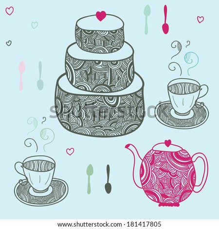 funny tea party with cake and tea set - stock vector