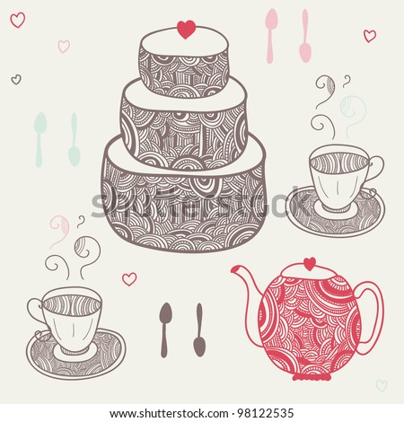 funny tea party with two cups, six spoons, teapot and cake