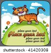 Funny Tiger on green hill.  2010 is the Year of the tiger according to the Chinese Zodiac. - stock