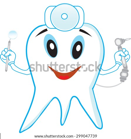 Funny tooth dentist with tools on white background