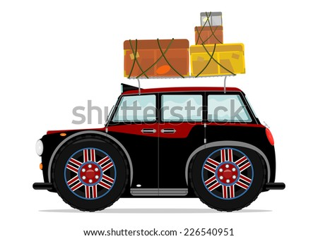 Funny toy car with lugagge. Vector illustration without gradients on one layer.