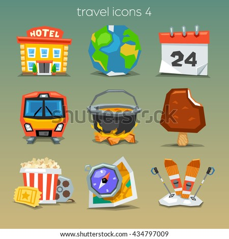 Funny travel icons-set 4 - stock vector