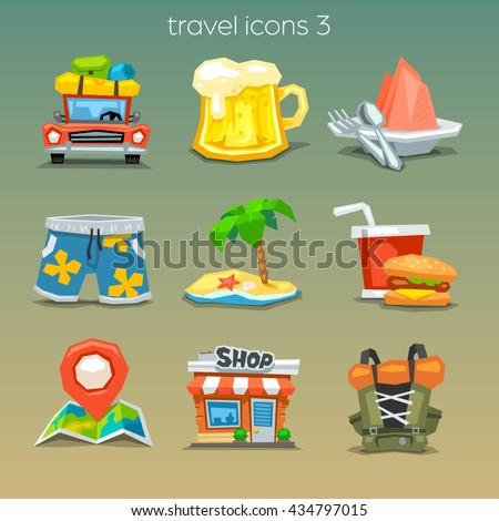 Funny travel icons-set 3 - stock vector