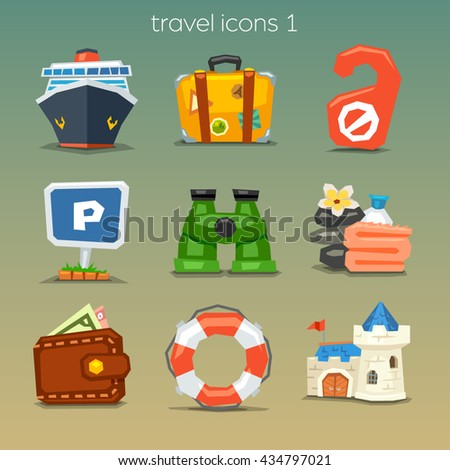 Funny travel icons-set 1 - stock vector