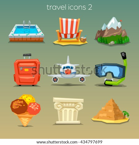 Funny travel icons-set 2 - stock vector