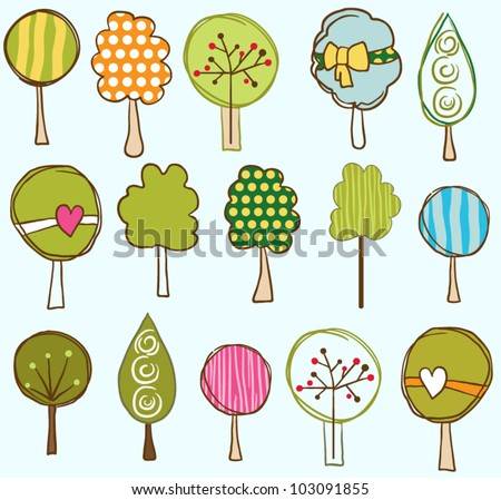 Funny trees seamless pattern