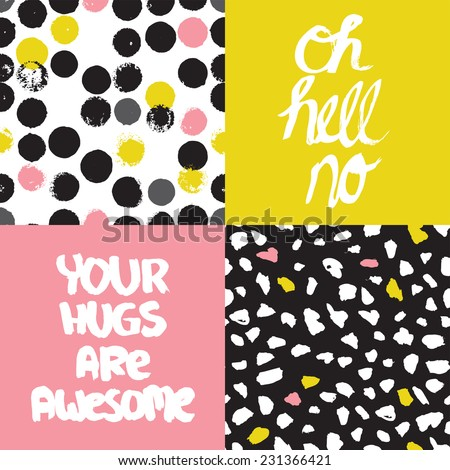 Funny trendy colorful hand lettering typography awesome hugs and abstract organic paint background pattern set in vector - stock vector