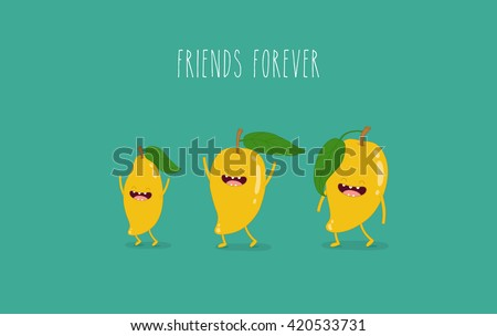 Funny tropical mango fruits. Friend forever. Vector illustration.