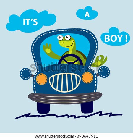 Funny turtle on a car. Cute car vector illustration. It's a boy message. T-shirt design.  - stock vector