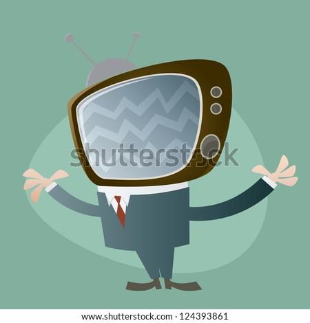 funny tv head man - stock vector