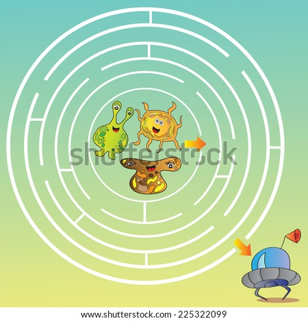 Funny UFO monster maze for kids - vector illustration - stock vector