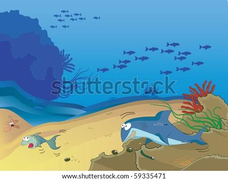 Funny underwater cartoon illustration. - stock vector