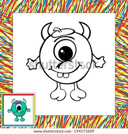 Funny vector alien (third). Coloring book - stock vector