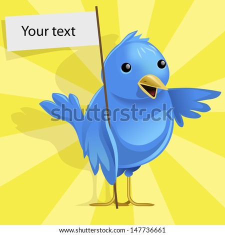 Funny vector blue bird on yellow rays background - stock vector