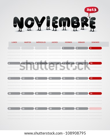 Funny 2013 vector calendar. November. In spanish. - stock vector