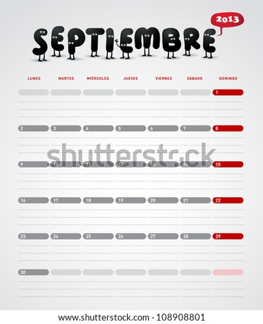 Funny 2013 vector calendar. September. In spanish. - stock vector