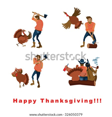 funny vector card on the day of Thanksgiving in cartoon style - stock vector