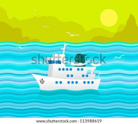 Funny Vector Cruise Ship in the Blue Sea. Vector Illustration about Travel