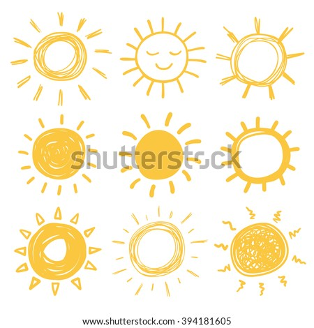 Funny vector doodle suns. Hand drawn set. - stock vector